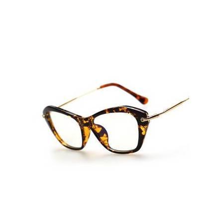 COSROVES 新款猫眼时尚金属腿可配近视眼镜片框架眼镜,欧美流行街拍平光眼镜PG56