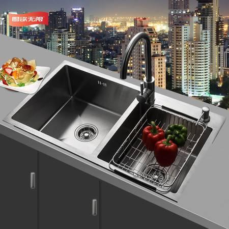 厨欲无限 厨欲无限 304不锈钢加厚方形手工双槽厨房洗菜盆水槽水池洗碗池双槽赠送水龙头套装