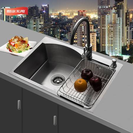 厨欲无限 304不锈钢超厚带弧形手工槽厨房洗菜盆水槽水池洗碗池大单槽送水龙头套装