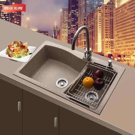 厨欲无限 天然石英石厚方形弧形手工槽厨房水槽洗碗池多样化双槽赠送水龙头套装SP80*48cm