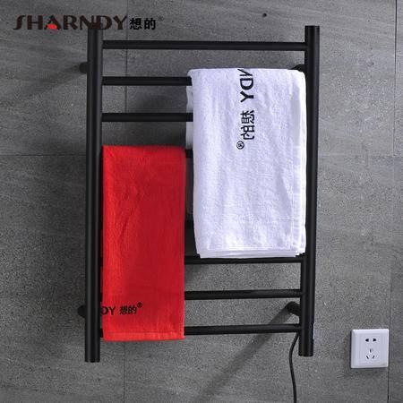 Sharndy想的 304不锈钢电热毛巾架智能恒温烘干浴巾架卫浴五金挂件 哑黑色ETW1-YH左出线
