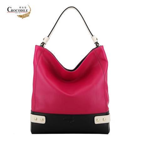 鳄鱼恤女包新款牛皮拼色手提包欧美时尚大牌女士包包玫红