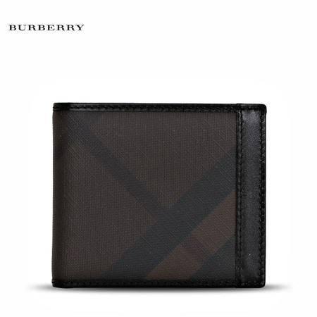 巴宝莉 Burberry MS IDbillf 男士格纹短款对折钱夹钱包3668639 棕斜格纹