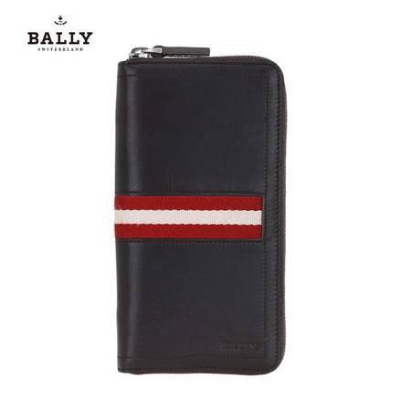 巴利 Bally 男款TASYO小牛皮织带长款拉链钱包钱夹 6179155 巧克力/米红条纹-617