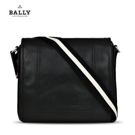 巴利 BALLY 男款TERLAGO小牛皮经典翻盖邮差斜挎包 6189959 黑色/米黑条纹