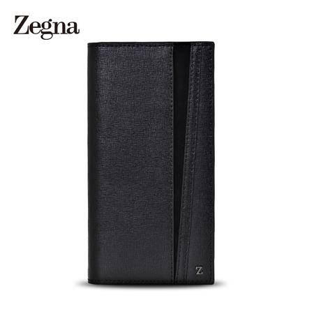 杰尼亚 Zegna 男士Z标压纹牛皮绅士长款翻盖对折钱夹钱包 E0824X 黑色