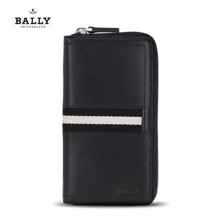 巴利 Bally 男款TASYO小牛皮织带长款拉链钱包钱夹 6179155 黑色/米黑条纹-6179