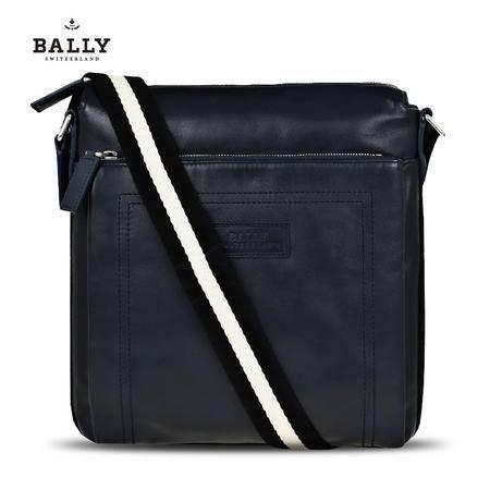 巴利 BALLY 男包 TUSTON-SM 男款牛皮经典织带拉链邮差包 6174856 蓝色/米黑条