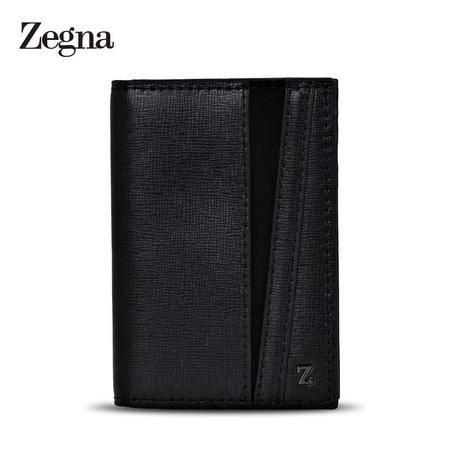 杰尼亚 Zegna 男士Z标压纹牛皮绅士卡片包 E0822X 黑色