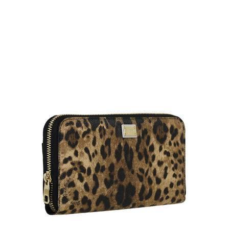 杜嘉班纳 DOLCE&GABBANA DG 女款经典豹纹长款拉链钱包钱夹 BI0473