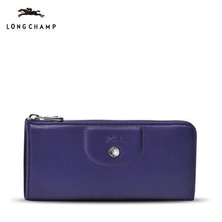 珑骧 Longchamp 女款小羊皮纯色长款拉链钱夹钱包 3418