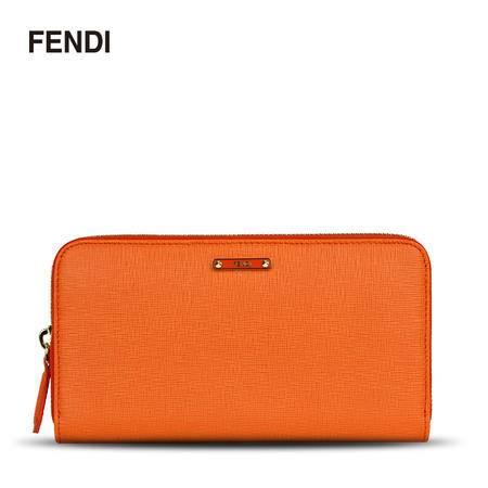 FENDI 芬迪 女款金属Logo标志压纹牛皮长款拉链钱夹钱包 桔色