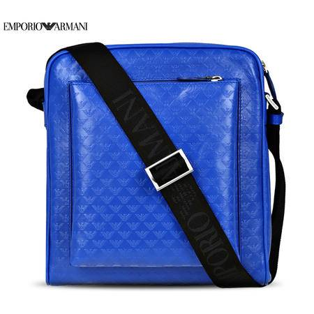 E.Armani Logo压纹斜挎包#蓝色