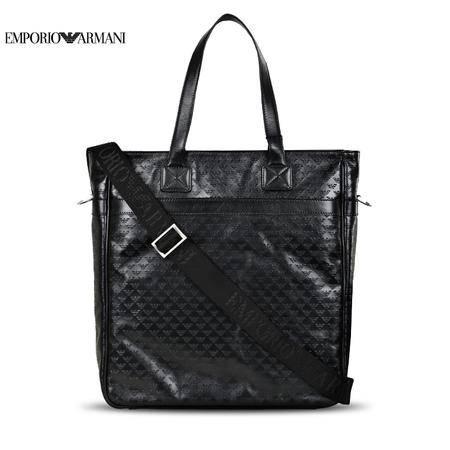 E.Armani Logo压纹手拎包#黑色