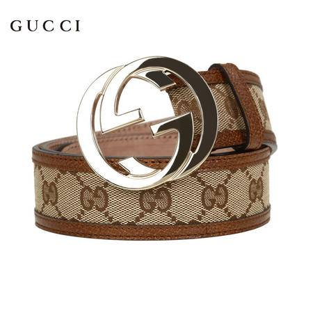 Gucci 金色双G互扣式皮带 棕色/乌木色