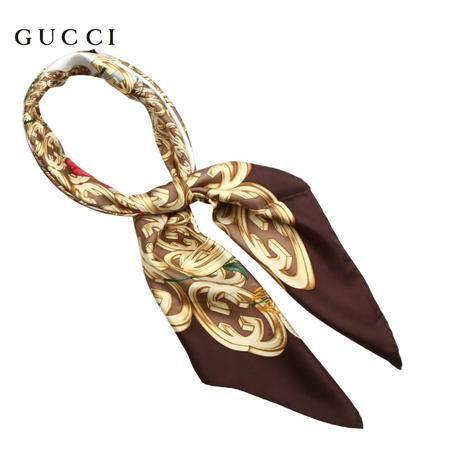 Gucci 金色双G立体印花丝巾 棕色