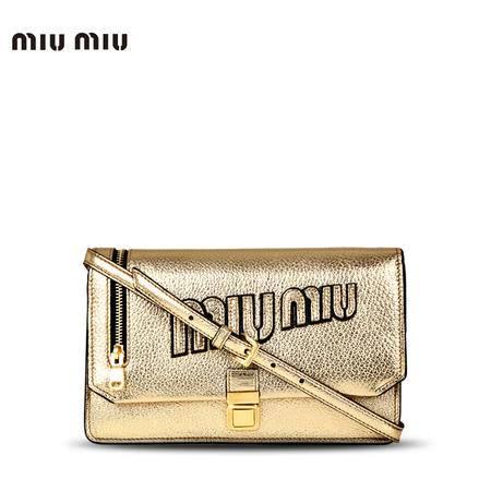 MiuMiu logo手拿斜跨包 浅金色 RT612L