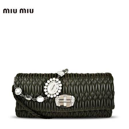 MiuMiu 水晶装饰 褶皱羊皮 旋扣短链单肩包