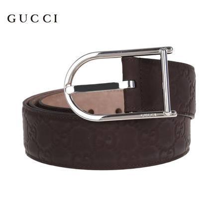 Gucci 圆形带扣真皮皮带