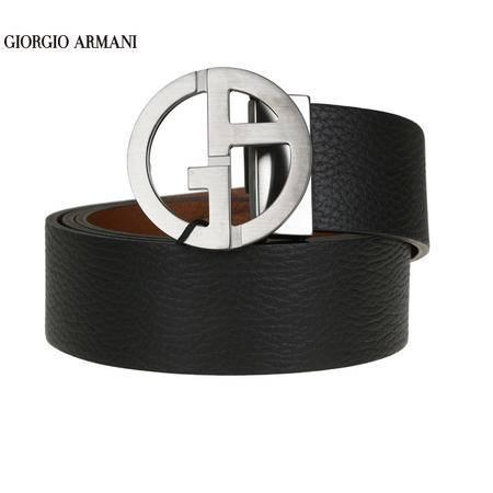 GIORGIO ARMANI 荔枝纹牛皮板扣双面皮带