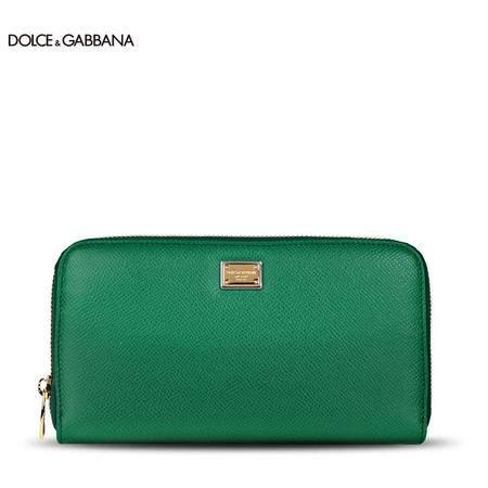 DOLCE&GABBANA DG 女款小牛皮长款纯色拉链钱夹BI0473松绿