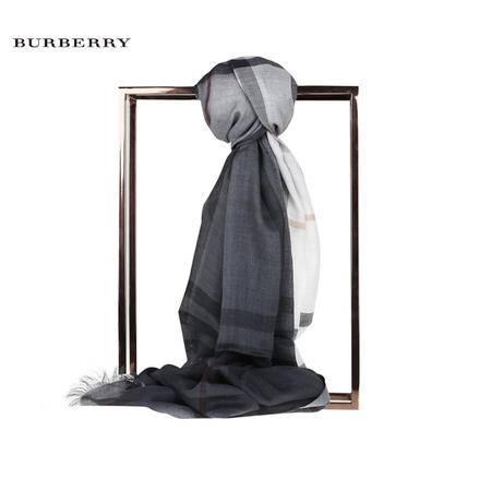 Burberry OMB 渐变色格纹丝毛混纺围巾
