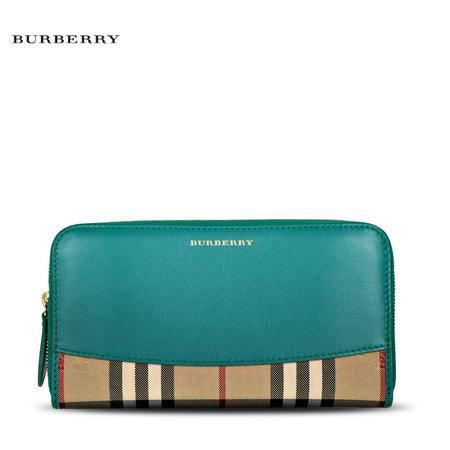 Burberry Elmore 格纹长款拉链钱夹
