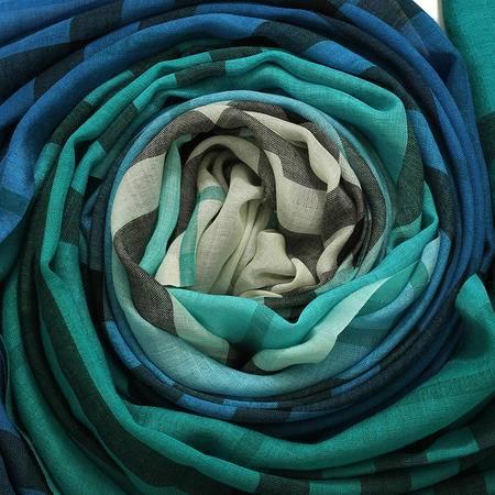 Burberry OMB 丝纺羊毛围巾 渐变格纹
