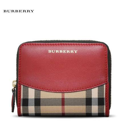 Burberry Bodmin 短拉链钱夹 刺绣格纹