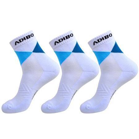 艾迪宝 男式 羽毛球运动袜子 三双装加厚毛巾高级底 A-25 白色