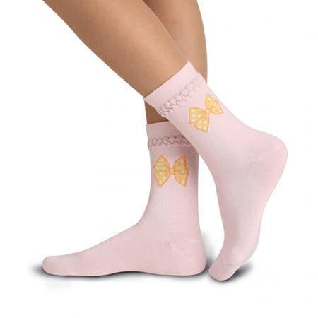【4双装】梦娜 女士精梳棉袜子 绣花蝴蝶盲缝秋冬厚款提花袜 中筒袜女纯棉