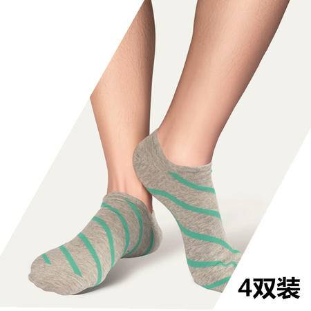 【4双装】梦娜原字弹休闲男船袜 夏季薄款袜子纯棉防滑落 男士隐形袜 船袜