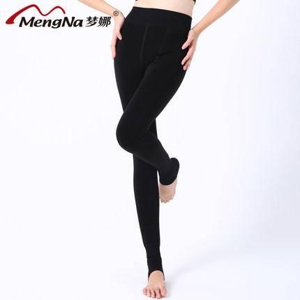 【2条装】梦娜 加绒加厚保暖裤 秋冬季女士韩版炫彩透彩打底裤外穿一体保暖