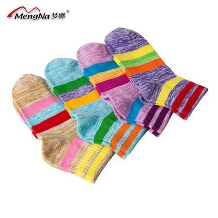 【5双装】梦娜全棉 女 袜子条纹短筒女中厚棉袜