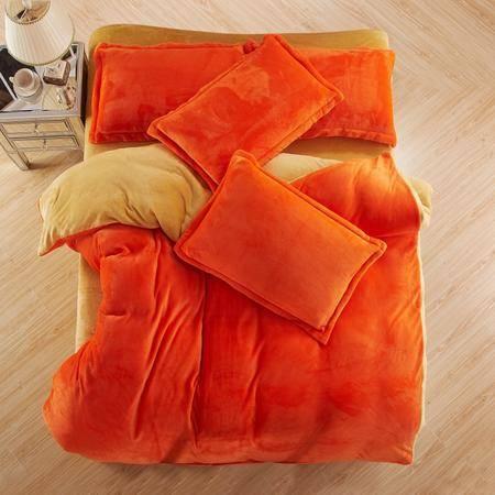 云跑兔  双拼色法莱绒保暖加厚四件套
