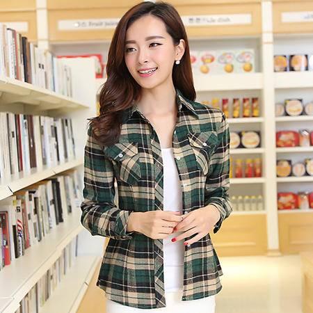 郎欣 2014春装新款 格子衬衫 纯棉 长袖衬衫女 韩版衬衣 1469