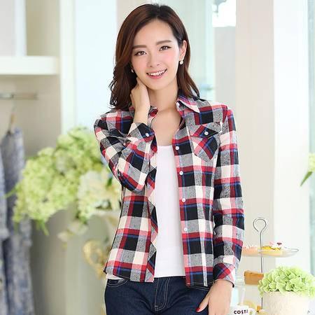 朗欣 2014秋冬装新款 格子衬衫 纯棉长袖衬衫女韩版衬衣 1466