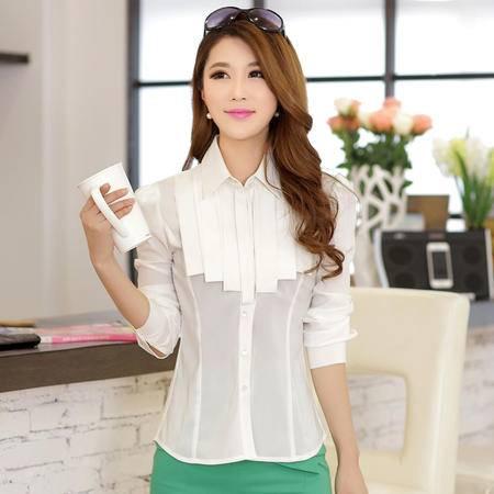朗欣 女装长袖衬衫POLO领韩版修身气质打底衫 1448
