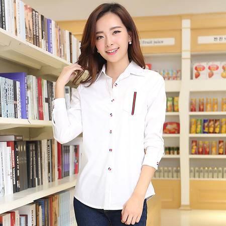 朗欣 2014新款韩版纯棉白色宽松大码女装长袖衬衫衬衣 1462