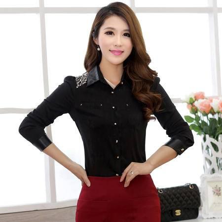 朗欣 2014新品韩版OL修身雪纺衬衫 长袖纯色 泡泡袖衬衣 1362