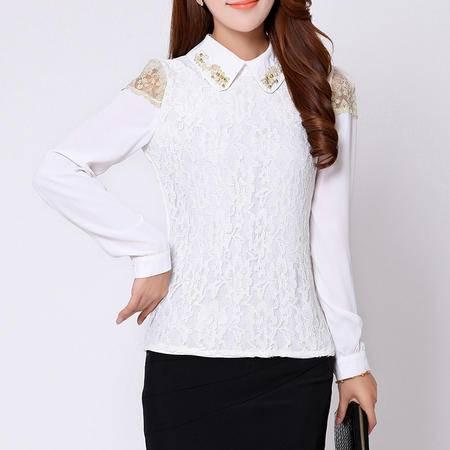 朗欣 春秋装新款韩版大码女装衬衣钉珠上衣打底衫 白衬衫 女长袖 1329