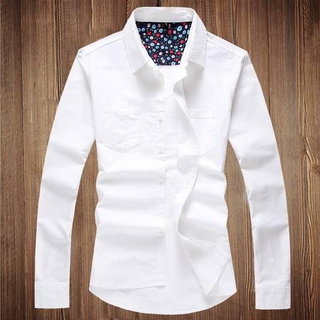 秋装新款男士休闲亚麻透气衬衫修身大码纯色男装长袖棉麻料舒适简约时尚翻领口袋衬衣