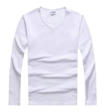 新款V领简约男装韩版潮流男士长袖纯色修身型薄纯棉潮衣服男夏装T恤长袖打底衫
