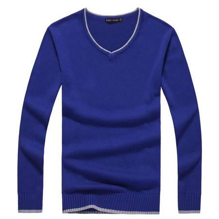 新款秋冬男士休闲长袖V领套头修身插色英伦风针织衫毛衣韩版舒适时尚线衣薄款针织毛线衫