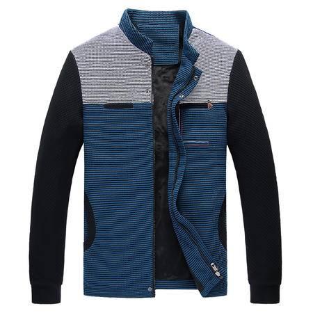 新款男士夹克外套针织拼接撞色立领拉链夹克上衣 简约复古潮流时尚百搭舒适男装外套