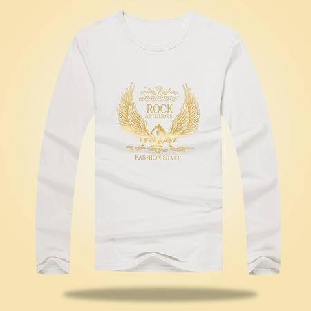 秋季新款男士长袖T恤烫金印花修身显瘦打底衫2015新款韩版打底衫