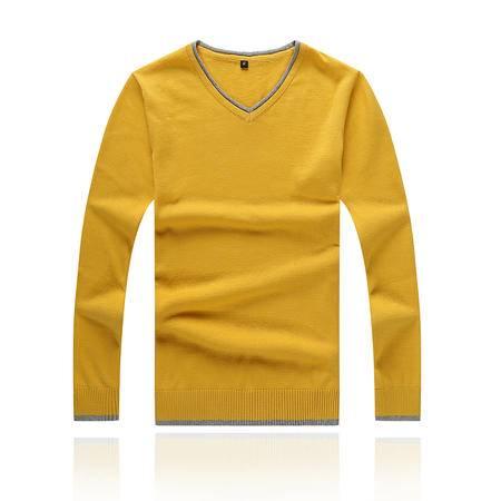 新款秋装男士长袖毛衣 韩版修身V领青年纯棉男装毛衣衫