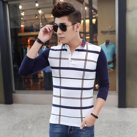 朗欣潮流男士长袖修身型薄款潮流时尚衣服男长袖格子条纹长袖T恤S-T9901