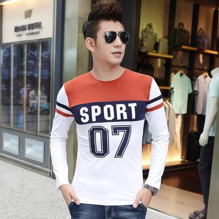朗欣简约圆领男装韩版潮流男士长袖修身型薄款潮流时尚衣服男长袖T恤S-T3808