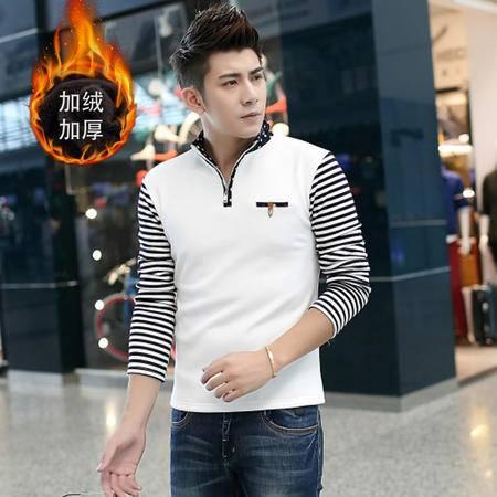 朗欣简约翻领男装韩版潮流男士加绒加厚长袖修身型潮流时尚衣服男长袖T恤S-T98203